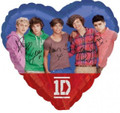 "One Direction 1D Heart Shaped 18"" Metallic Foil Balloon Zayn Harry Liam Niall"
