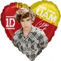 "One Direction 1D 18"" Heart Metallic Balloon - Liam"