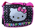 Hello Kitty Large Cloth Messenger Backpack Laptop Bag Sling - Blk Sparkle