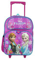 """Frozen Large 16"""" Cloth Backpack Book Bag Pack With Wheels - Purple/Flowers"""