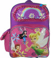 """Tinkerbell Large 16"""" Cloth Backpack Book Bag Pack - Pink"""