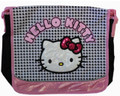 Hello Kitty Large Cloth Messenger Backpack Laptop Bag Sling - Blk Wht