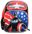 """Captain America Large 16"""" Cloth Backpack Book Bag Pack - Red"""