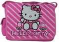 Hello Kitty Large Messenger Sling Laptop Book Bag Pack - Stripes