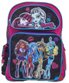 "Monster High Large 16"" Cloth Backpack Book Bag Pack - Hearts"