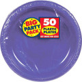 Amscan Big Party Pack 50 Count Plastic Dessert Plates, 7-Inch, New Purple