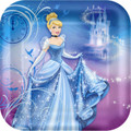 Princess Cinderella Sparkle Square 9 Inch Dinner Plates Party Birthday