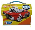 "Hot Wheels Dome Carry All Tin Stationery Lunch Box - ""Speed Club"""