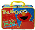 """Elmo Square Carry All Lunchbox Tin Box - Yellow """"play with me"""""""