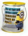 "Despicable Me Minions Clear Paint Canister with Tin Lid - ""Loses an Eye"""