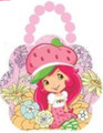 Strawberry Shortcake Tin Box Carry All Flower Shaped Purse with Beaded Handle - Pink