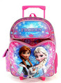 """Frozen Large 16"""" Cloth Backpack  With Wheels - Heart Pocket"""