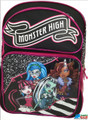 "Monster High Large 16"" Cloth Backpack Book Bag Pack - Black / Pink"