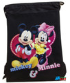 Drawstring Bag - Mickey Mouse & Minnie Mouse Black Cloth String Bag