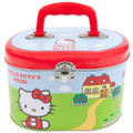 Hello Kitty Tin Stationery Round Box Small Lunch Box - Red