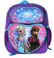 """Frozen Small Toddler 12"""" Cloth Backpack Book Bag  - Purple/Blue Outline Heart"""