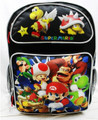 "Mario Brothers Large 16"" Backpack Book Bag Back Pack - Black"