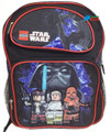 "LEGO Star Wars Large 16"" Cloth Backpack Book Bag Pack - Black"
