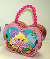 Abby Cadabby Butterfly Shape Carry All Tin Purse Bag with Beaded Handle - Pink