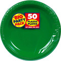 Big Party Pack Large 10 Inch Lunch Plastic Plates - Festive Green