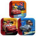 Cars 2 Large Square Lunch Dinner Plates - Blue