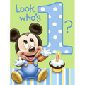 Mickey Mouse Pack of 8 Invitations - Baby Mickey 1st Birthday