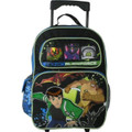 """Ben 10 Large 16"""" Cloth Backpack With Wheels - Green Outline"""