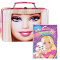 Barbie Square Carry All Tin Stationery Party Box with Grab n Go Play Pack
