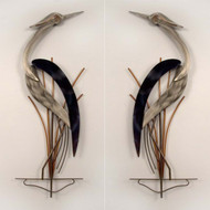 Elegant Pair of Herons Wall Sculpture