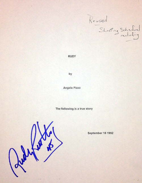 Autographed Movie Script with Scene Shooting Schedule.