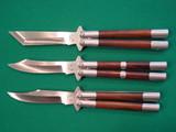 Set Of Three 29 Knives Custom Balisongs W/Wood Inserts