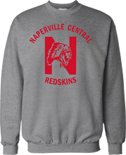 Grey Crewneck Sweatshirt with red printed ink logo