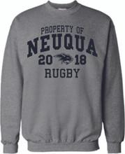 Oxford Grey Crewneck Sweatshirt with Navy blue print