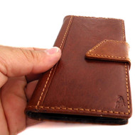 genuine vintage leather case for samsung galaxy s5 book wallet magnet cover light brown slim daviscase