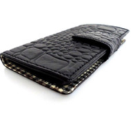 genuine real leather Case for HTC ONE book wallet handmade m7 crocodile style bl