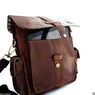 genuine vintage Leather Bag Messenger handbag iPad air Shoulder Satchel Briefcase Travel Brown  classic  retro  4 new