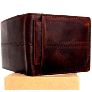 Men Genuine italian Leather wallet Billfold case  POCKET CARD id 1 Cash Slots handcraft  ID Removable case