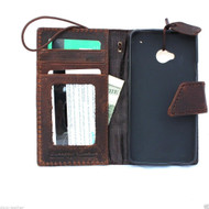 genuine italian leather hard Case for HTC ONE book wallet handmade cover ID flip  m7 skin slim retro
