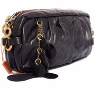 Genuine natural soft leather woman purse tote Ladies wallet Soft Beige 2 zippers black