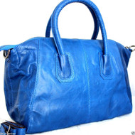 Genuine leather woman bag Tote Hobo Handbag Shoulder Messenger Purse Satchel 70s free shipping blue