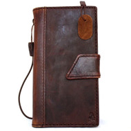 genuine Leather case hard Case for Motorola Nexus 6 book Wallet magnet losure cover cards slots slim brown daviscase
