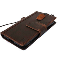 genuine Leather hard Cover for Samsung Galaxy Note Edge book Wallet magnet cover slim cards slots brown thin daviscase