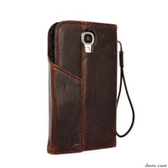 genuine vintage leather Case for GALAXY S4 CASE book wallet luxury handmade by davis case