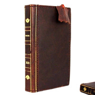 genuine vintage leather case for iphone 6s plus cover Bible book wallet credit card id magnet business slim IL