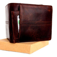 Genuine Leather men's vintage wallet Bifold Card Holder luxury multi cards coin Removable id