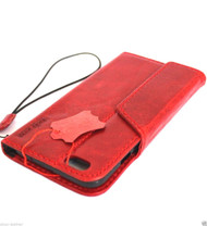 genuine real leather case for iphone 6 plus cover book wallet band credit card id magnet business slim luxury  Red