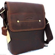 genuine Vintage Leather men's Bag Messenger for iPad air Shoulder Satchel School brown