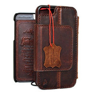 genuine vintage leather slim case for iphone 6s  4.7 cover book wallet credit card Removable magnet luxurey flip safe magnet close