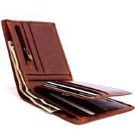 Men's Genuine italian oiled Leather wallet Billfold case COIN POCKET CARD id  Cash Slots  handcraft zipper case