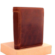 Men's Genuine italian oiled Leather wallet Billfold luxury case COIN POCKET CARD id  Cash Slots zipper case